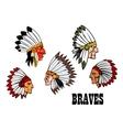Indian brave chief portraits set vector image
