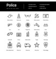 simple set of line police icons vector image