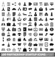 100 partnership startup icons set simple style vector image vector image