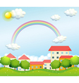 A peaceful village near the hills vector image vector image