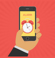 alarm clock on smartphone screen vector image vector image