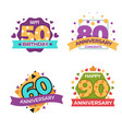 anniversary and greeting birthday isolated icons vector image vector image