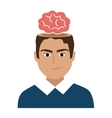 avatar man with red brain graphic vector image