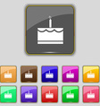 Birthday cake icon sign Set with eleven colored vector image vector image