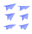 blue paper plane set vector image