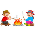 burning marshmallow in camp vector image