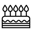 cake line icon sweet isolated vector image