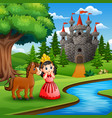 cartoon of a cute princess girl with horse in the vector image