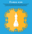 Chess bishop icon Floral flat design on a blue vector image