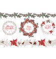 christmas set with festive elements calligraph vector image vector image