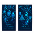 Christmas toys on dark blue background vector image
