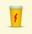 coffee cup with sleepy man silhouette on it vector image vector image