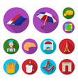 country france flat icons in set collection for vector image
