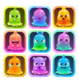 cute cartoon colorful slimy characters vector image