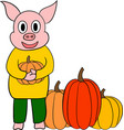 cute little pig cartoon character vector image