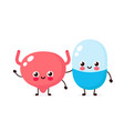 cute strong happy smiling pill and bladder vector image vector image