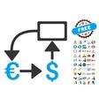 Euro Dollar Flow Chart Icon With 2017 Year Bonus vector image vector image