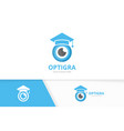 eye and graduate hat logo combination vector image vector image