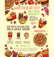 fast food menu banner with burger drink dessert vector image vector image