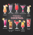 flat style valentine cocktail menu vector image vector image