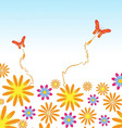 Flower and butterflies background vector image vector image