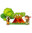 font design for word summer camp with girl vector image vector image