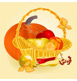 fruits in a basket healthy nutrition thanksgiving vector image vector image
