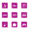 game technology icons set grunge style vector image vector image