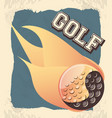 golf club label with ball and flame vector image vector image