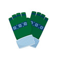green winter gloves with blue ornament for girl or vector image