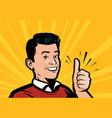 happy man showing thumbs up retro comic pop art vector image vector image