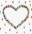 heart shape frame diverse people group vector image vector image