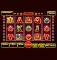 interface slot machine in black-red colored vector image vector image