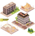 isometric buildings and skatepark vector image