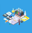 isometric science lab medical research vector image vector image