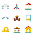 kids playground icons set flat style vector image vector image