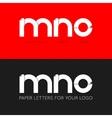 letter M N O logo paper set background vector image vector image