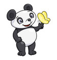 little panda and butterfly vector image