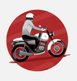 man riding classic motorcycle vector image vector image