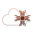 microchip and cloud computing red lines vector image vector image