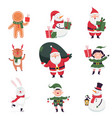 new year characters with santa claus elf and vector image vector image