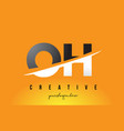 oh o h letter modern logo design with yellow vector image vector image