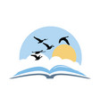 open book with birds and sunny sky vector image
