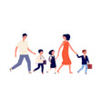 parents and kids students go to school large vector image vector image