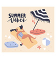 postcard template with woman lying on beach vector image vector image