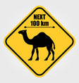 road sign - attention animal camels crossing vector image