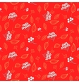 rowan berry and leaves seamless red pattern vector image