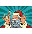 Santa Claus with money New year and Christmas vector image vector image