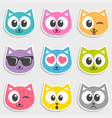 set colorful cats with different emotions vector image vector image