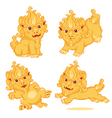 Set of Lion Chinese Style Cartoon Character vector image